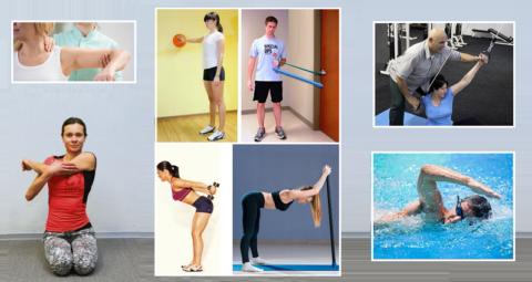 Формы ЛФК – гимнастика (упражнения: пассивные, активные, с предметами, на тренажерах) и плаванье