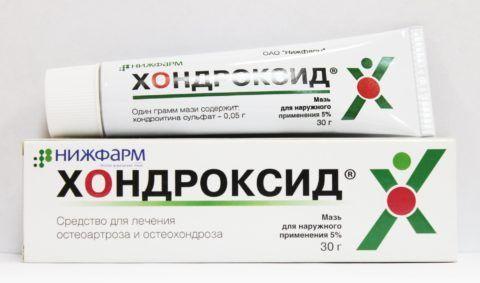«Хондроксид» (на фото) применяется при болезнях сочленений и позвоночника.