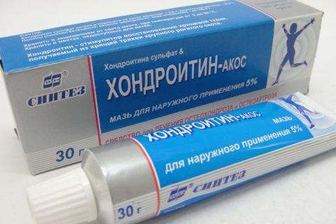 Крем, гель, бальзам или мазь с хондроитином помогают восстановлению тканей больного сустава.