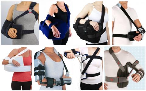 Некоторые из возможных видов ортопедических конструкций с жесткой иммобилизацией плеча, локтя, а иногда и запястья