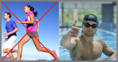 При патологиях позвоночника, скажите бегу нет, а плаванию – да