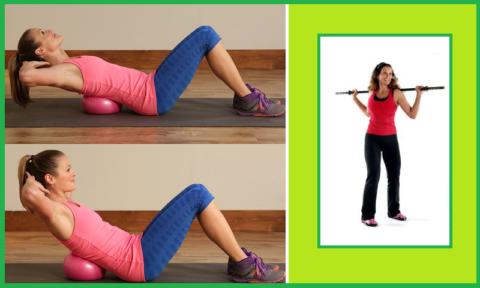 При поясничном радикулите показаны упражнения с мячом, а при шейно-грудном — с гимнастической палкой