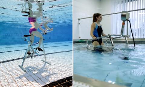 Сочетание водной среды с беговой дорожкой или велотренажёром дают оптимальную нагрузку на больные колени