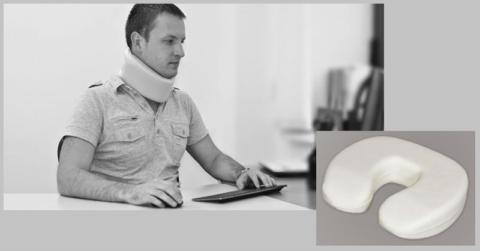 Воротник Шанца (мягкая модель) и плоско-с-образная жёсткая ортопедическая подушка