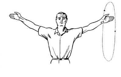 Вращение прямыми руками уменьшат застойные явления в верхних конечностях.